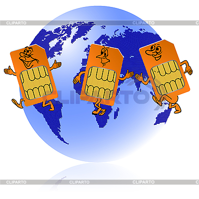 Globe with sim cards | Stock Vector Graphics |ID 3102856