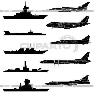 Set of military aircraft, ships and submarines. | Stock Vector Graphics |ID 3106535