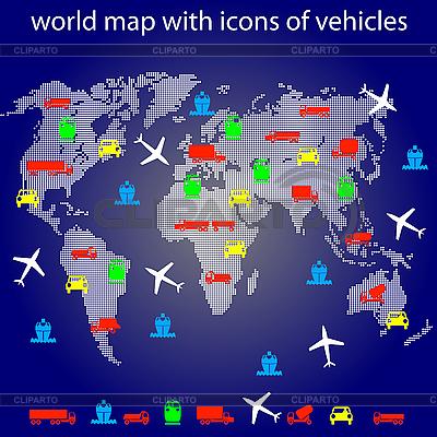 Mapa świata z ikonami transportu dla podróżujących. | Klipart wektorowy |ID 3185668