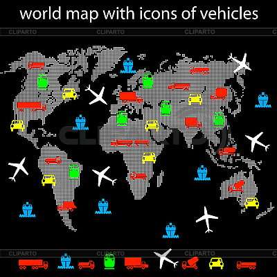 World map with icons of transport for traveling. | Stock Vector Graphics |ID 3185670