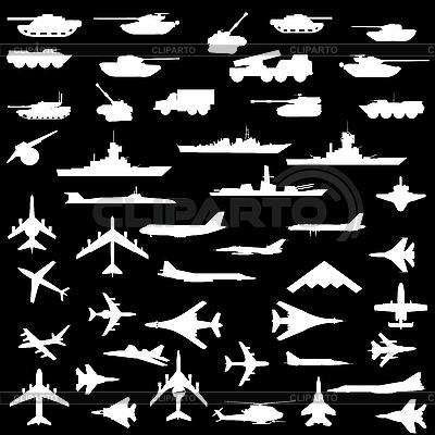 Set of aircraft, armored ships and guns | Stock Vector Graphics |ID 3205748