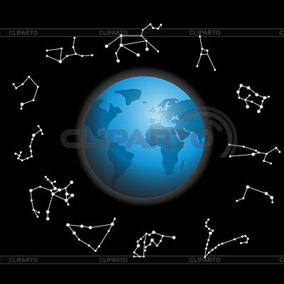 Constellations around globe | Stock Vector Graphics |ID 3250430