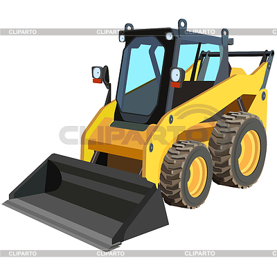 The yellow truck with scraper to lift cargo. | Stock Vector Graphics |ID 3294392
