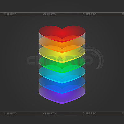 Column of rainbow hearts | Stock Vector Graphics |ID 3089203