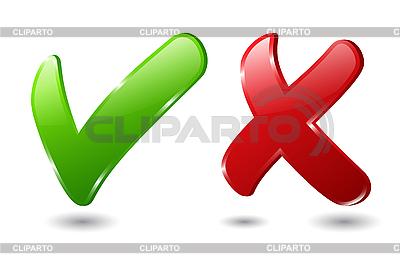 Sprawdź i krzyż znak | Klipart wektorowy |ID 3104538
