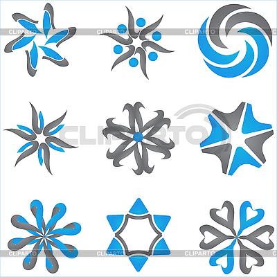 Niebieski i szary dingbats | Klipart wektorowy |ID 3104551