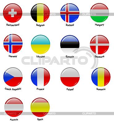 Okrągłe Ikony z europejskich flag | Klipart wektorowy |ID 3104553