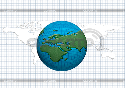 World globe with world map | High resolution stock illustration |ID 3076971