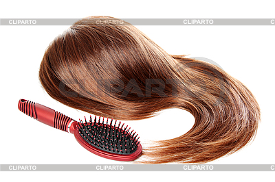 Brown wig and hairbrush | High resolution stock photo |ID 3088261