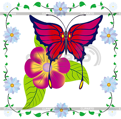 Butterfly and flower frame | Stock Vector Graphics |ID 3081463