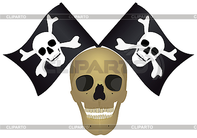 Schädel mit den gekreuzten Flaggen | Stock Vektorgrafik |ID 3081760
