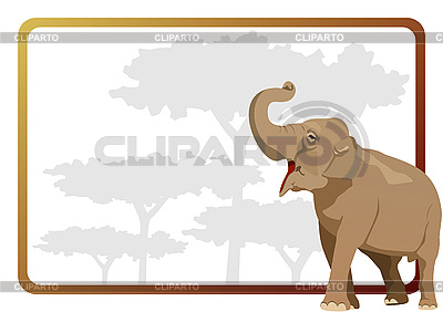 animal against the frame with the trees sergey skryl - Elephant Picture Frame