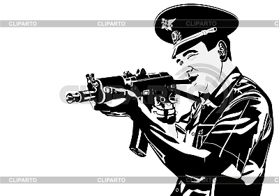 Russian policeman with gun   Stock Vector Graphics  ID 3081720