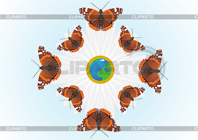 Globe and Admiral butterflies | Stock Vector Graphics |ID 3083737