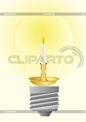 Glühbirne und Wachskerze | Stock Vektorgrafik |ID 3090563