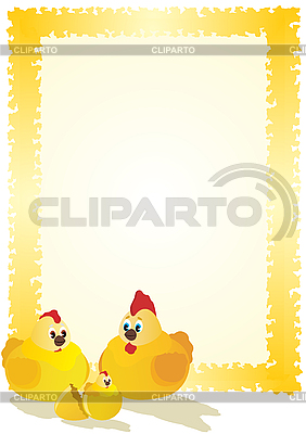 Hen, kogut i kurczaka | Klipart wektorowy |ID 3112828