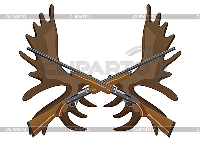 Hunting rifles and antlers of elk | Stock Vector Graphics |ID 3112850