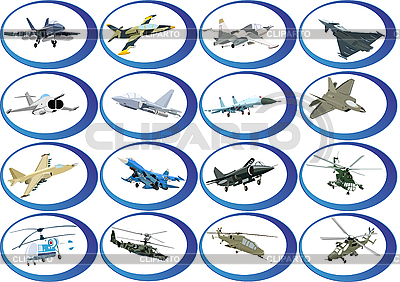 Set of military aircraft | Stock Vector Graphics |ID 3127051