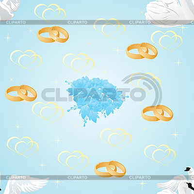 Swans, wedding rings and flowers | Stock Vector Graphics |ID 3160248