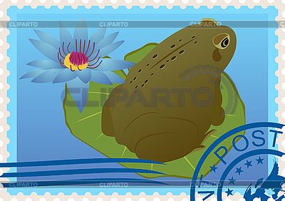Postage stamp with frog | Stock Vector Graphics |ID 3196767
