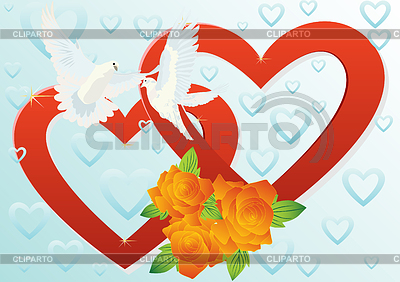 Two hearts and two doves | Stock Vector Graphics |ID 3299999