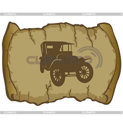 老式汽车和羊皮纸 | 向量插图 |ID 3345099