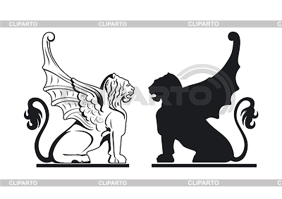 Black and white griffins   Stock Vector Graphics  ID 3295532