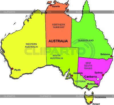 Australia mapa państw | Klipart wektorowy |ID 3083282