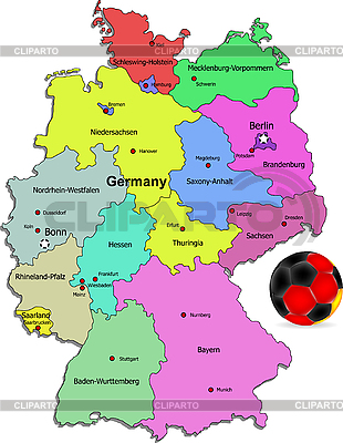 Deutschlands Landkarte mit Fußball | Stock Vektorgrafik |ID 3083460
