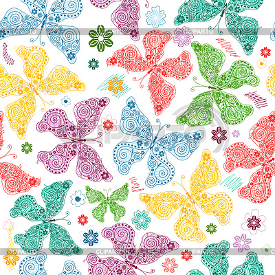 Seamless pattern with butterflies   Stock Vector Graphics  ID 3089980