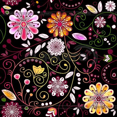 Ciemny kwiatowy wzór bez szwu | Klipart wektorowy |ID 3090029