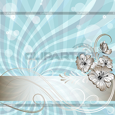 Gentle blue floral card   Stock Vector Graphics  ID 3090199