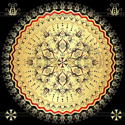 Złoty runda arabeska | Klipart wektorowy |ID 3104382