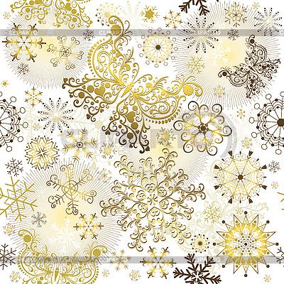 Goldenes Weihnachtsmuster | Stock Vektorgrafik |ID 3110273