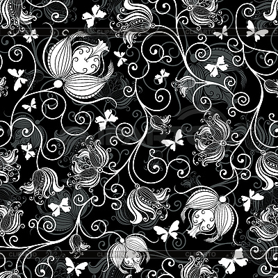 Seamless black-white floral pattern   Stock Vector Graphics  ID 3174807