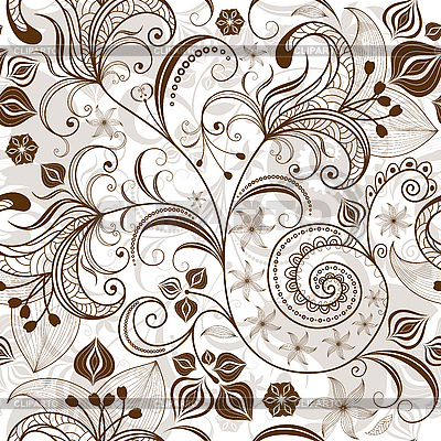 Repeating white-brown floral pattern | Stock Vector Graphics |ID 3184217