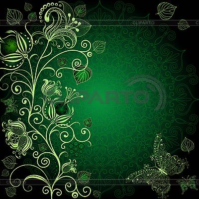 Dunkelgrüne Blumenkarte | Stock Vektorgrafik |ID 3187784