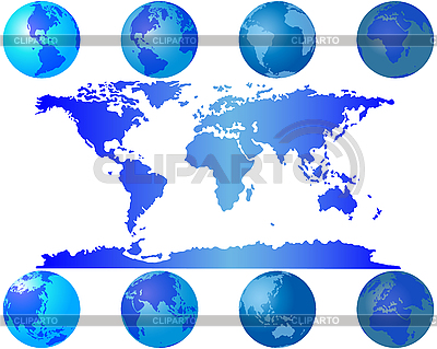 世界地图和地球仪 | 向量插图 |ID 3087996