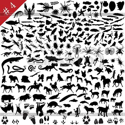 Набор силуэтов животных | Иллюстрация большого размера |ID 3088036