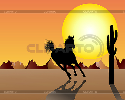 Horse on sunset | Stock Vector Graphics |ID 3088118