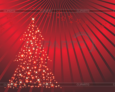Red christmas card with fir tree | Stock Vector Graphics |ID 3089036