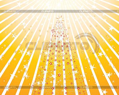 Stylizowane choinki w żółtych promieni | Klipart wektorowy |ID 3089050