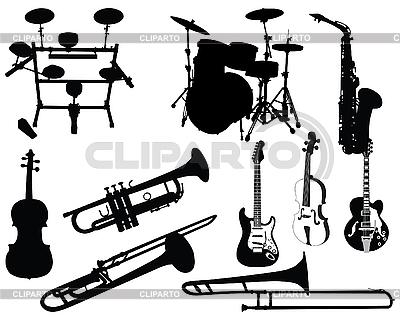 Zestaw instrumentów muzycznych   Klipart wektorowy  ID 3089116