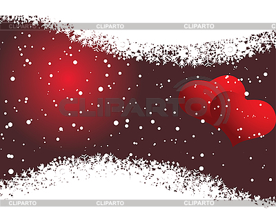 Valentine's card with hearts and snowflakes   Stock Vector Graphics  ID 3089158