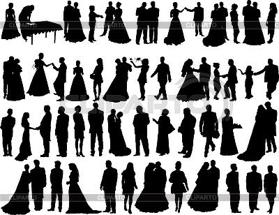 Sylwetki ślub | Klipart wektorowy |ID 3089194