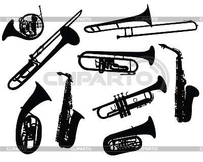 Silhouettes of wind instruments | Stock Vector Graphics |ID 3089196