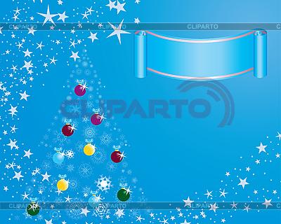 전나무 나무와 빨간 크리스마스 카드   벡터 클립 아트  ID 3101028