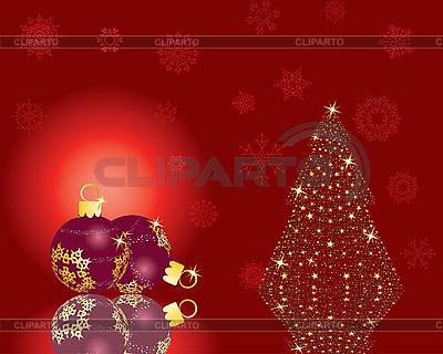 전나무 나무와 빨간 크리스마스 카드 | 벡터 클립 아트 |ID 3101058
