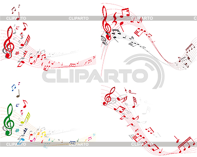 Set of designs with music notes | Stock Vector Graphics |ID 3119617