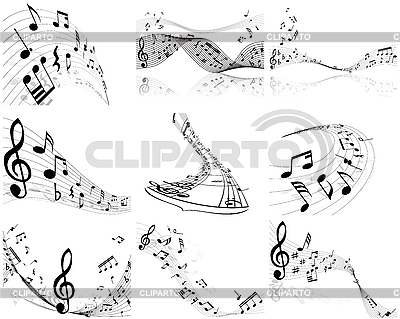 Set von Designs mit Musik-Noten | Stock Vektorgrafik |ID 3119659